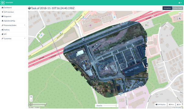 Ortokuva OpenStreetMapin päälle asennettuna